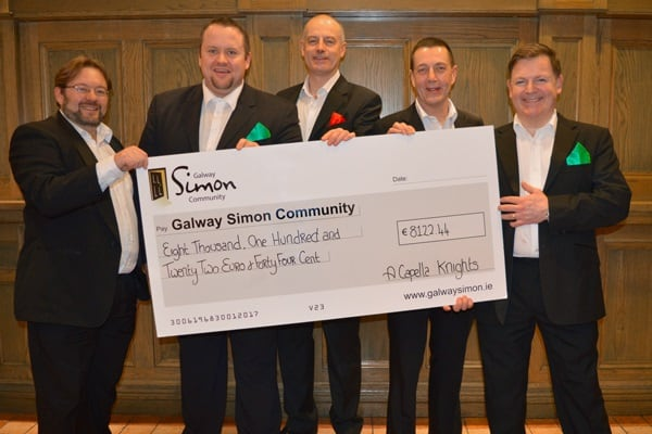 The A Capella Knights raise over €8K for Galway Simon