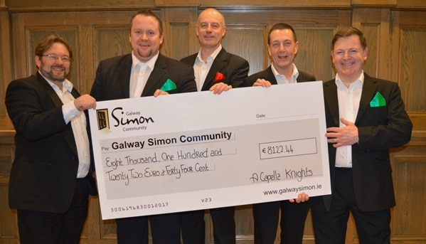 A Capella Knights raise €8K for Galway Simon