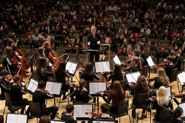 Pictured: Athenry Youth Orchestra performing in the National Concert Hall this February under conductor, Katharine Mac Maghnuis