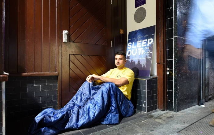 Cian Kelleher, Connacht Rugby player, launching Galway Simon's Sleep Out for Simon 2018. Image by Boyd Challenger
